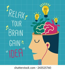 Creative idea growing from relax brain vector
