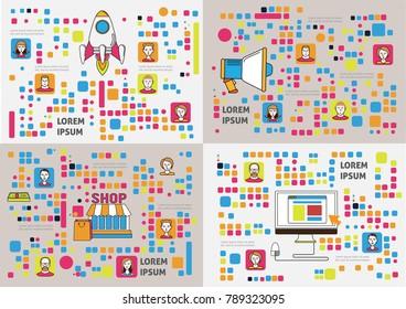 Creative idea images. Business concept flat line art. Vector illustrations set.