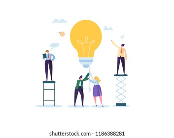 Creative Idea, Imagination, Innovation Concept with Light Bulb. Business People Characters Working Together on New Project. Vector illustration