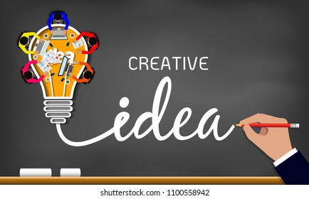 Creative idea. inspiration planning light bulb icon concept drawing on blackboard background. teamwork. businessmen help to brainstorm to achieve higher and success. vector illustration