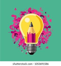 Creative idea. Lamp bulb and pencil. Art vector illustration.