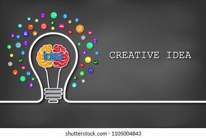 Creative idea light bulb brain icon. on blackboard background. vector illustration
