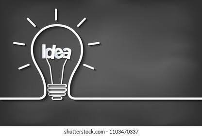Creative idea light bulb icon. on blackboard background. vector illustration