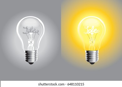 Creative idea in light bulb shape as inspiration concept. Vector illustration.