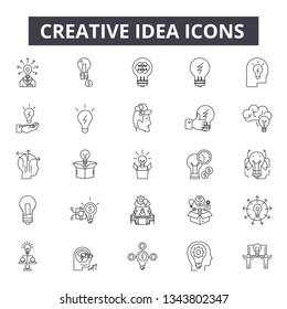 Creative idea line icons for web and mobile design. Editable stroke signs. Creative idea  outline concept illustrations