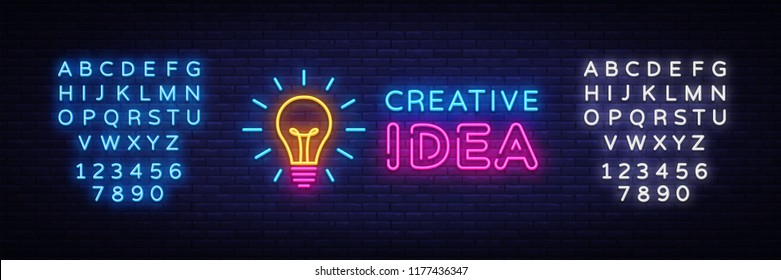Creative Idea Neon Sign Vector. Creative Idea neon logo, design template, modern trend design, night neon signboard, night bright advertising, light banner, light art. Vector. Editing text neon sign
