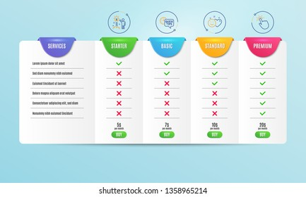 Creative idea, Smile and Quick tips icons simple set. Comparison table. Touchpoint sign. Startup, Social media like, Helpful tricks. Touch technology. Technology set. Pricing plan. Vector