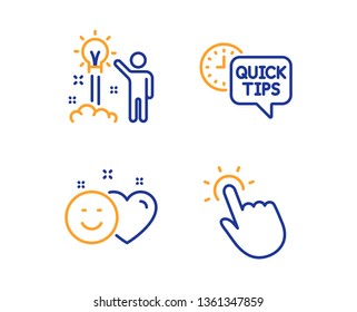 Creative idea, Smile and Quick tips icons simple set. Touchpoint sign. Startup, Social media like, Helpful tricks. Touch technology. Technology set. Linear creative idea icon. Colorful design set