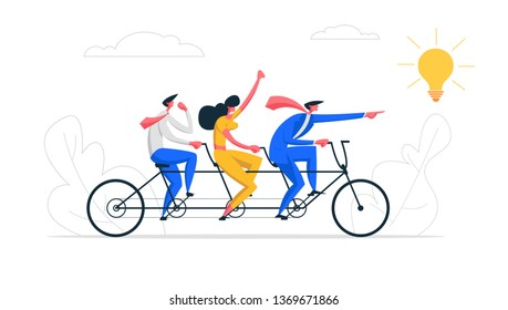Creative Idea Teamwork Concept. Business Team Riding Tandem Bicycle. Businessman and Businesswoman Characters on Bike. Cooperation Leadership Metaphor. Vector flat cartoon illustration