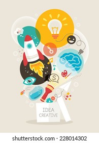 Creative idea think out of the box vector Illustration