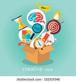 Creative idea, think out of the box vector Illustration