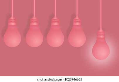 Creative ideas about the lamp. Different and distinctive lamps lined in paintings on a pink background. Pastel performances are featured in different ideas in the business. Vector image of success.