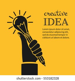 Creative ideas concept. Hand holding pencil with light bulb, silhouette icon. Innovation, solution. Success in education, art, project. Vector illustration flat design. Isolated on yellow background.