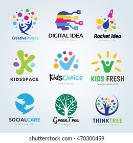 Creative ideas logo set, Brand identity collection for kids, education ,ecology, learning, people, family, social media, vector template.