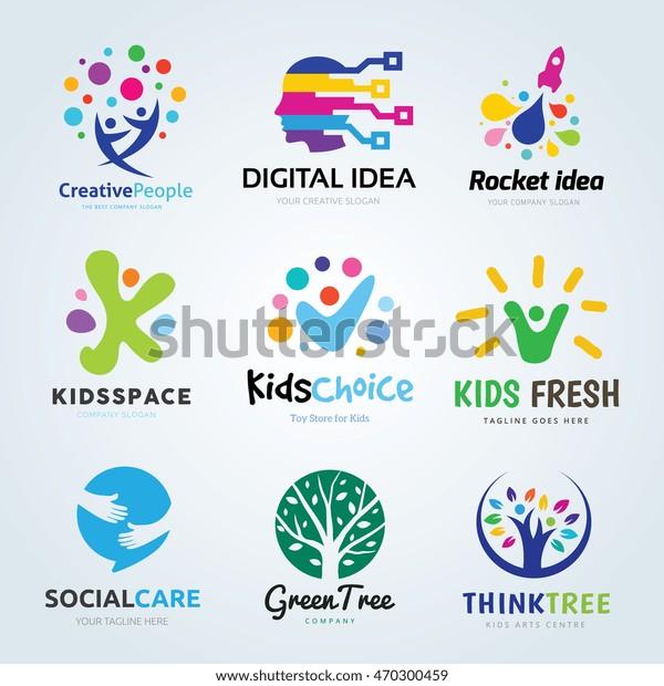 Kreative ideer logo sæt, Brand identitet samling for børn, uddannelse, økologi, læring, mennesker, familie, sociale medier, vektor skabelon.