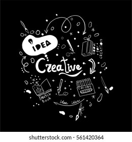 Creative ideas in vector. Hand drawn doodle illustration. Black and white colors. Good for background, cards, logo.