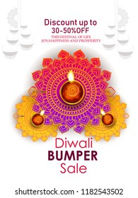 Creative illustration for banner, poster on happy Diwali for big sale, bumper sale 40% off light festival of India with background