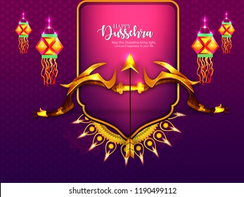 creative illustration of Bow and Arrow of Rama, Happy Dussehra festival of India background