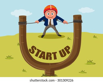 Creative illustration of a businessman in slingshot for start up a new business.
