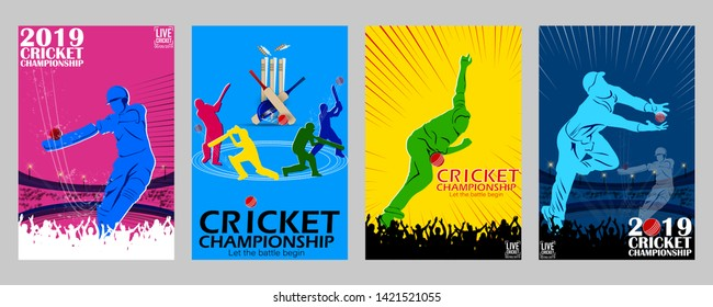 creative illustration of Cricket championship 4 set of poster, flyers and  background. - Vector
