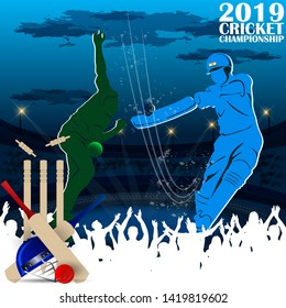 creative illustration of Cricket championship banner with India and Pakistan player on stadium background. - Vector