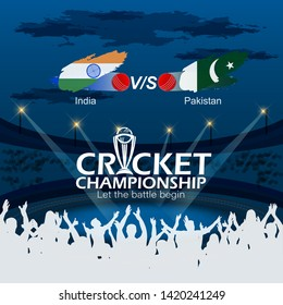 creative illustration of Cricket championship banner of India and Pakistan match on stadium background. - Vector