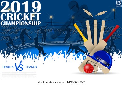 creative illustration of Cricket championship banner with players on stadium background. - Vector