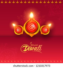 Creative illustration of Decorated Diya for Happy Diwali, shunb diwali festival holiday celebration of India greeting background