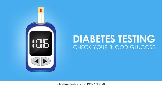 Creative illustration of glucose meter for blood glucose test in diabetes patients. Can be used as poster, banner, header, background, icon and brochure.