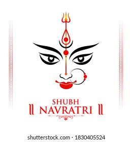 Creative Illustration of Goddess Durga Maa Face or Mnemonic for Celebration of Indian Religious Festival Happy Navratri, Durga Puja.