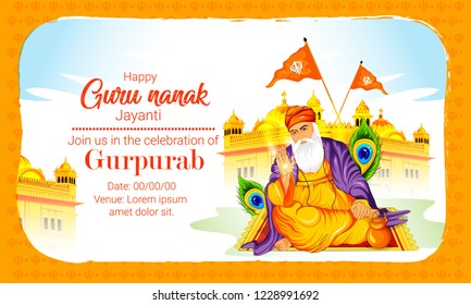 Creative illustration of Guru Nanak Jayanti, Happy Gurpurab, festival of Sikh celebration background with golden temple (prakash utsav)