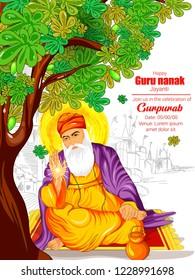 Creative illustration of Guru Nanak Jayanti, Happy Gurpurab, festival of Sikh celebration background with golden temple (prakash utsav)