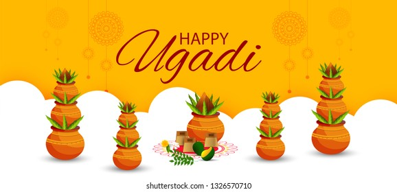 Creative Illustration Of Happy Ugadi Greeting Card Background With Decorated Kalash. - Vector