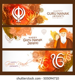 Creative illustration header or banner of Guru Nanak Jayanti celebration.