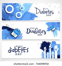 Creative illustration, header or banner of world diabetes day awareness.