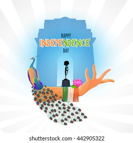 Creative illustration of India Gate, Amar Jawan Jyoti with Indian National Symbols and Beautiful woman hand in Classical Dance Pose for Happy Indian Independence Day celebration.
