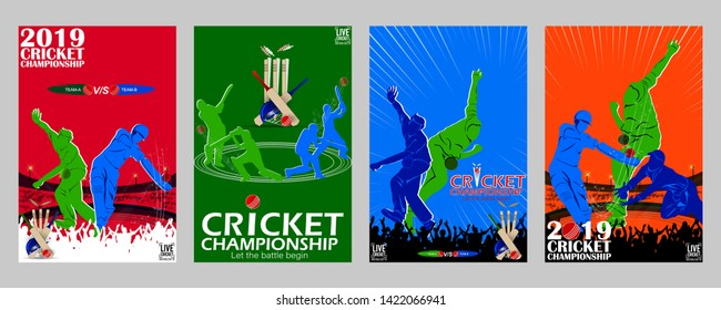 creative illustration of India vs Pakistan Cricket championship 4 set of poster, flyers and  background. - Vector