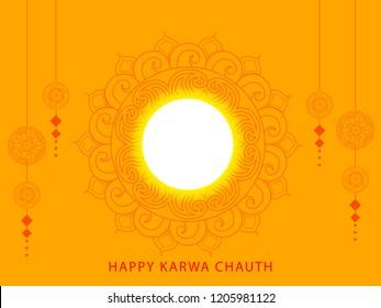 Creative illustration for indian festival of karwa chauth celebration.