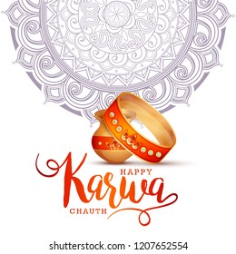 Creative illustration of indian festival of karwa chauth celebration.