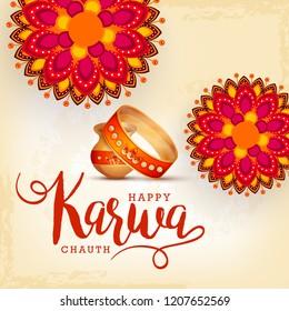 Creative illustration of indian festival of karwa chauth celebration.