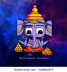 creative illustration of Lord Ganpati on Ganesh Chaturthi with laddu, modak background
