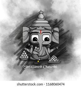 creative illustration of Lord Ganpati on Ganesh Chaturthi with laddu, modak background