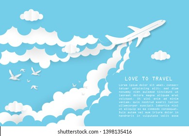 Creative illustration love to travel concept. Airplane flying on blue and white clouds with bird and space. Paper art paper cut style. Website template and banner for promotion or advertising  poster.