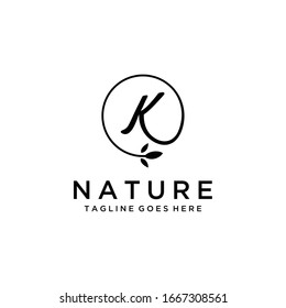 Creative Illustration luxury sign K with leaf logo template design