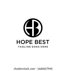 Creative Illustration modern H,B sign geometric logo design template