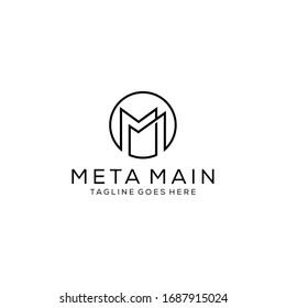Creative Illustration modern M,M sign geometric logo design template
