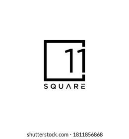Creative Illustration modern number 11 ( eleven ) on box logo design template