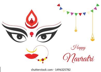 Creative Illustration of Navratri & Durga Pooja for Indian Festival Durga Puja