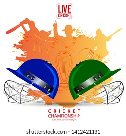 creative illustration of Player helmets on cricket championship sports background.- Vector
