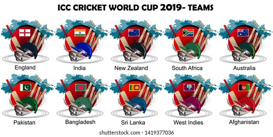creative illustration of Player's helmet of respective team in cricket championship.ICC Cricket world cup 2019 - Teams.- Vector